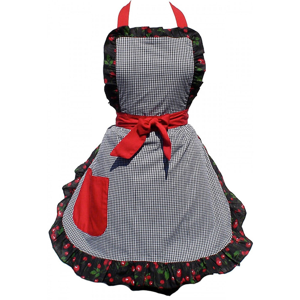 Hemet Gingham and Cherries Apron Checkered Retro Vintage Inspired Rockabilly