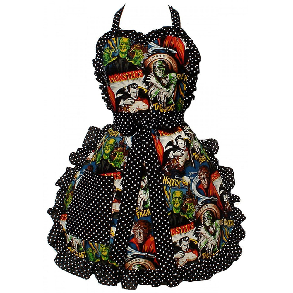 Hemet Hollywood Monsters Horror Movie Apron Psychobilly Frankenstein Dracula