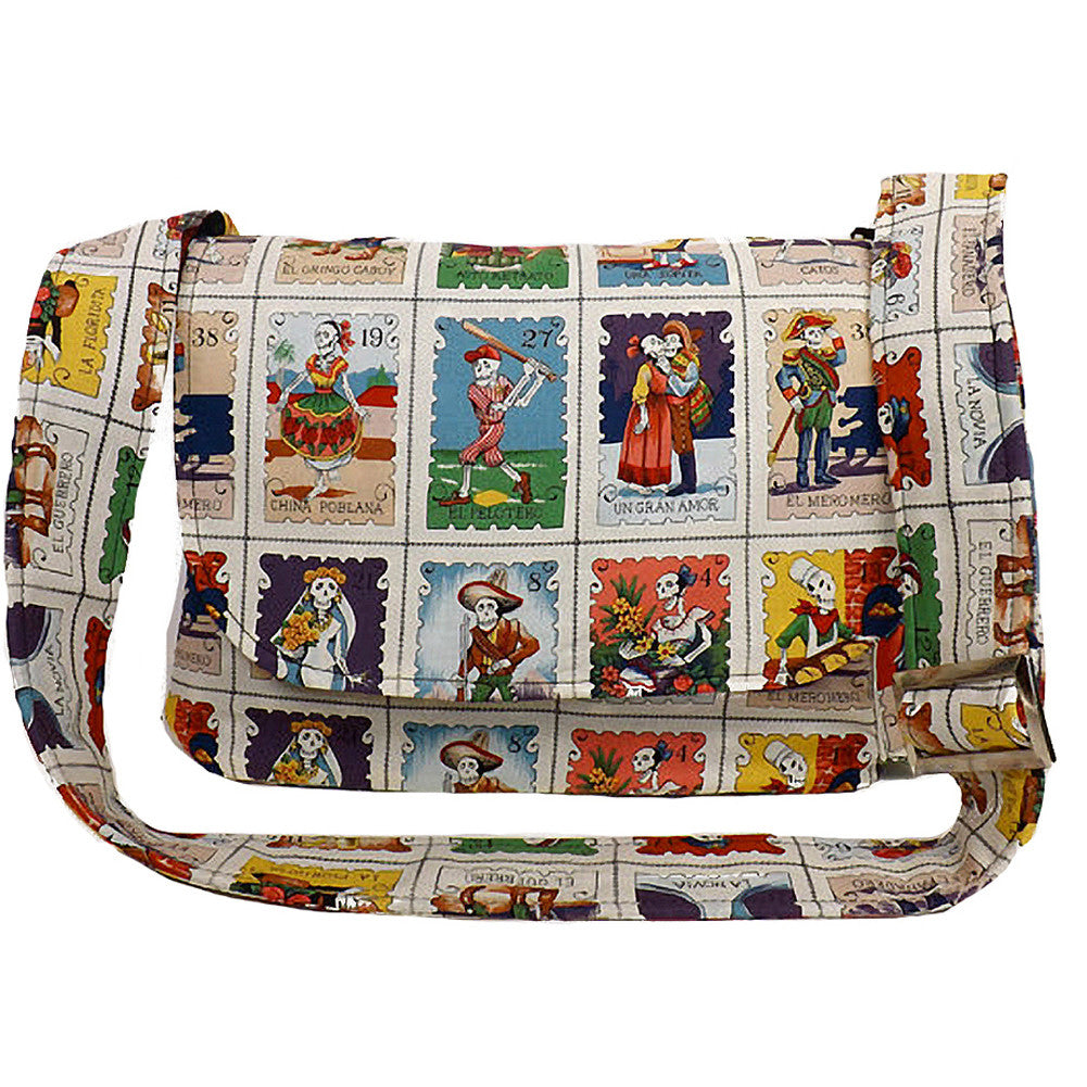 Hemet Loteria Cards Messenger Bag Day of the Dead Skeletons Latina Art
