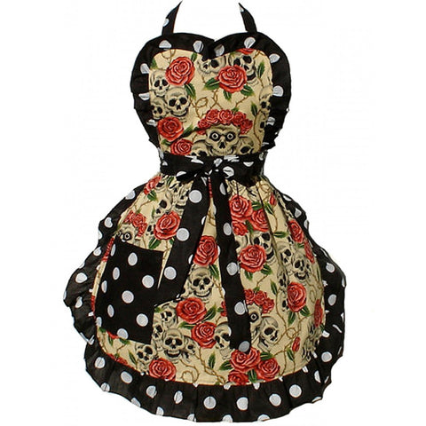 Hemet Skulls and Roses Apron Polka Dot Retro Vintage Rockabilly Tattoo