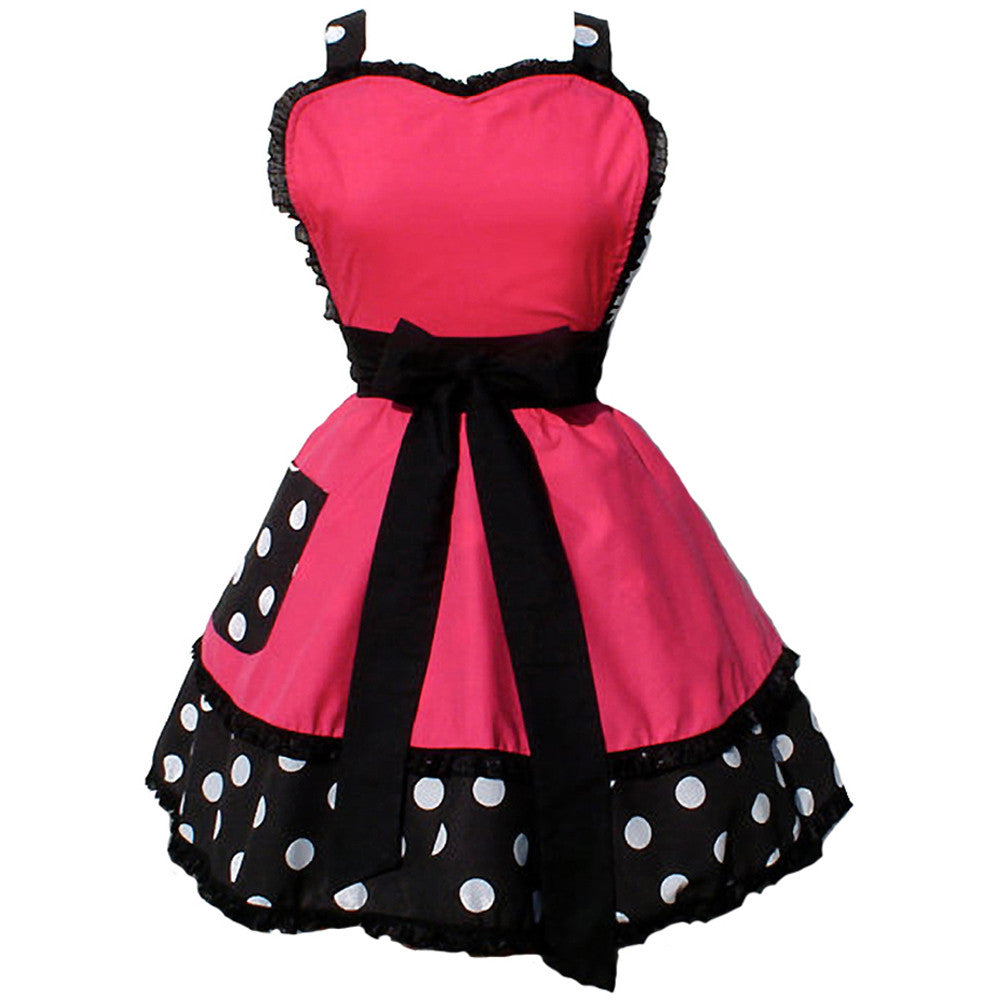Hemet Two Tier Pink and Polka Dots Apron Retro Vintage Inspired Rockabilly