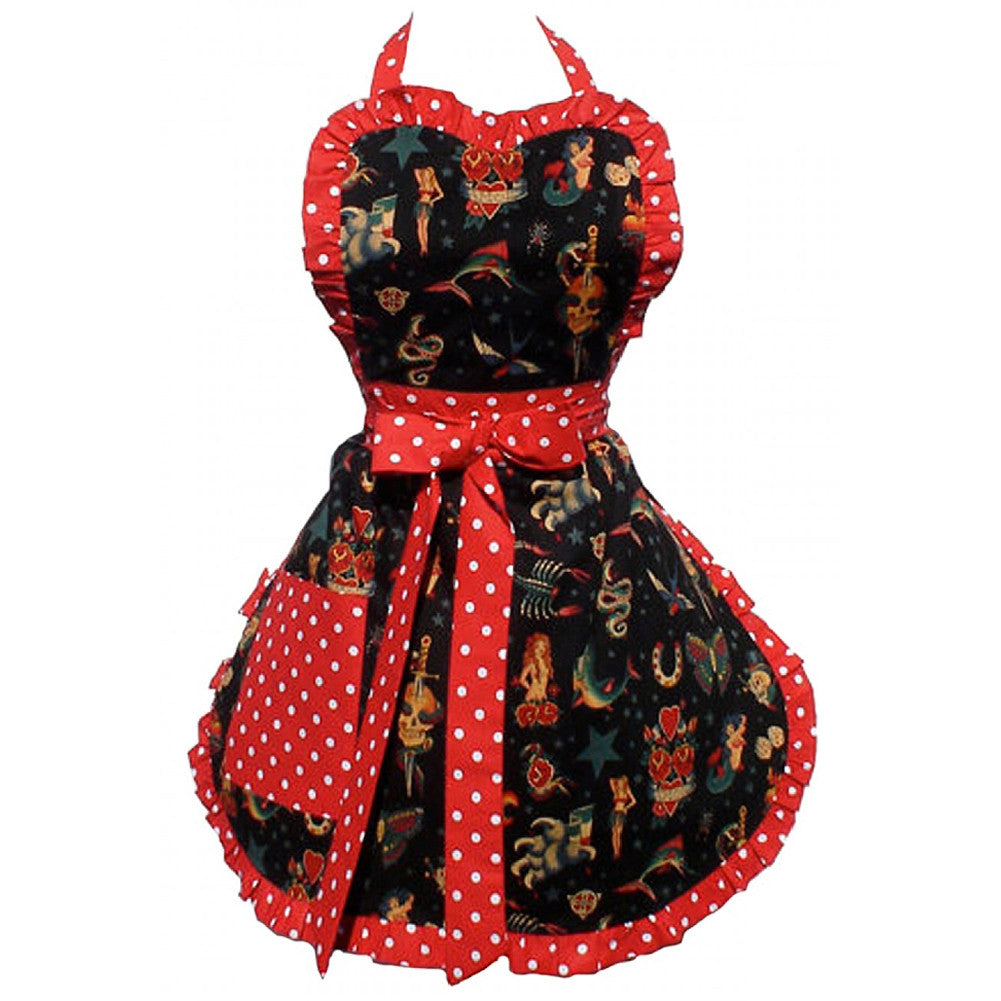 Hemet Vintage Tattoo Deluxe Apron Polka Dot Traditional Retro Rockabilly