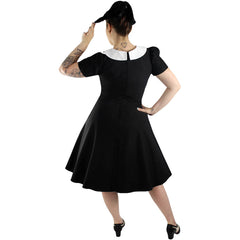Hemet Wednesday Circle Dress Black Retro Rockabilly Vintage Inspired