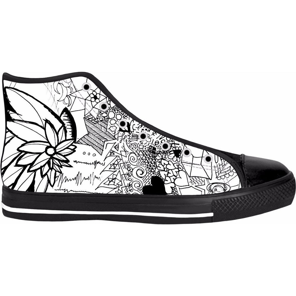 Unisex Hexaflower High Top Canvas Shoes