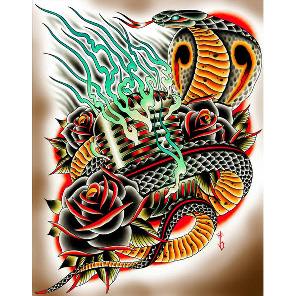 Hipnotized by Tyler Bredeweg Canvas Giclee Cobra Snake Flames Black Rose Tattoo