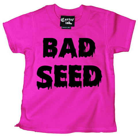Kid's Cartel Ink Bad Seed T-Shirt Pink Troublemaker Halloween