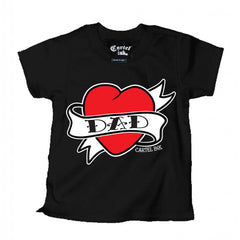 Kid's Cartel Ink Dad Heart Tattoo T-Shirt Black Traditional Flash