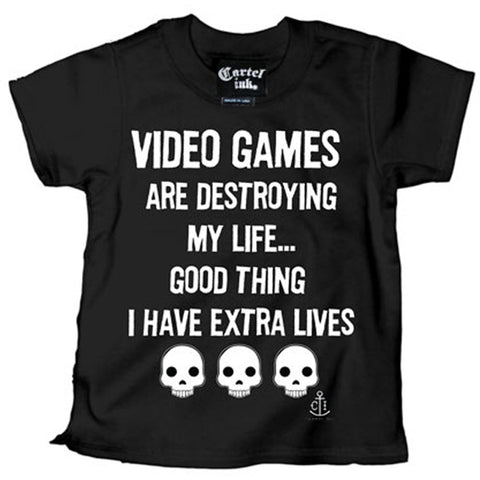 Kid's Cartel Ink Extra Lives T-Shirt Video Games Gamer