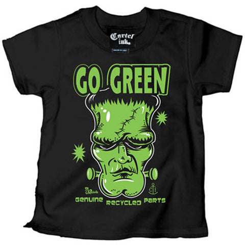 Kid's Cartel Ink Go Green T-Shirt Black Frankenstein Monster Horror