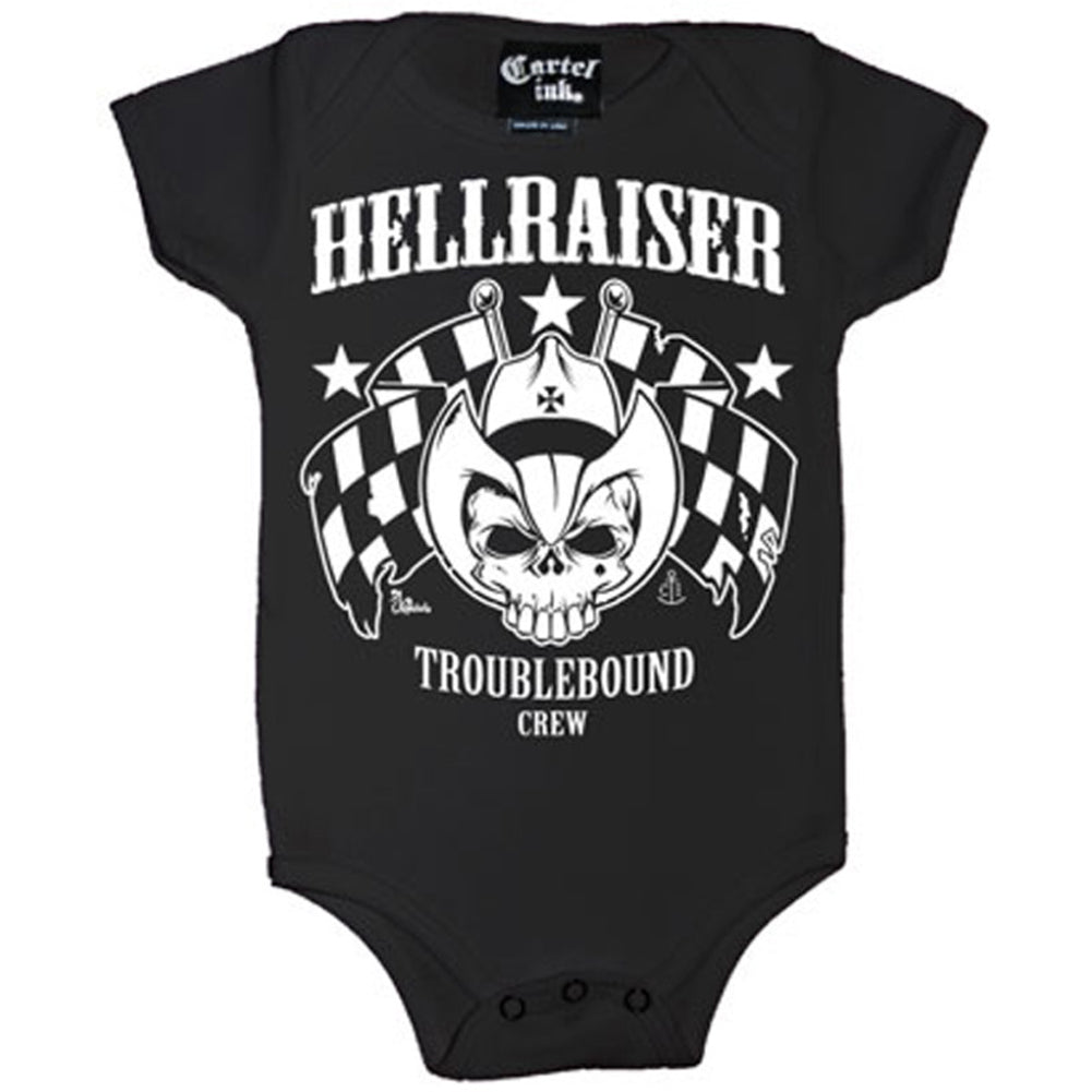 Kid's Cartel Ink Hellraiser One Piece Black Skull Checkered Flags Baby Toddler