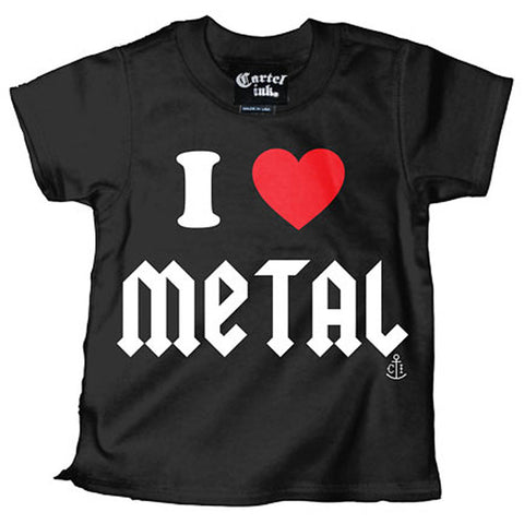 Kid's Cartel Ink I Love Metal Black Rock N Roll Music Baby Toddler