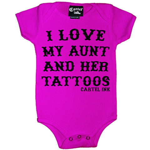 Kid's Cartel Ink I Love My Aunt and HerTattoos One Piece Pink Inked Tattooed