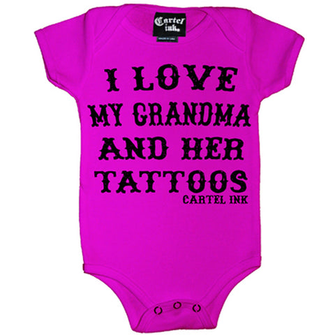 Kid's Cartel Ink I Love My Grandma and Her Tattoos One Piece Pink Inked Tattooed