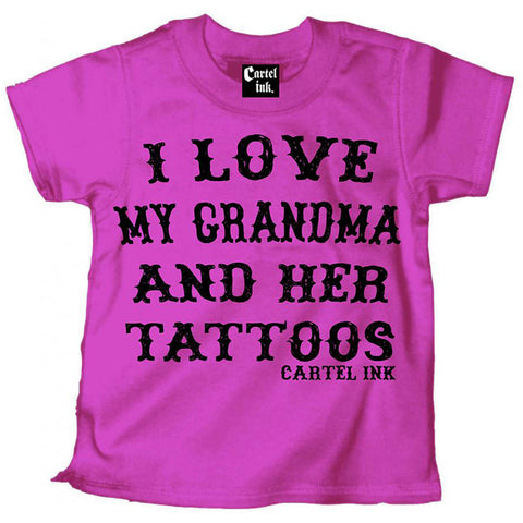 Kid's Cartel Ink I Love My Grandma and Her Tattoos T-Shirt Pink Inked Tattooed