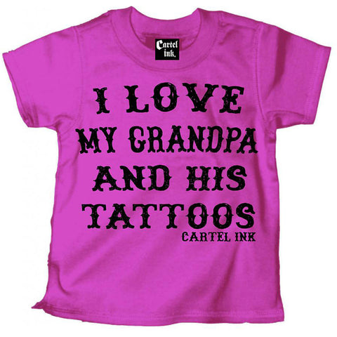 Kid's Cartel Ink I Love My Grandpa and His Tattoos T-Shirt Pink Inked Tattooed