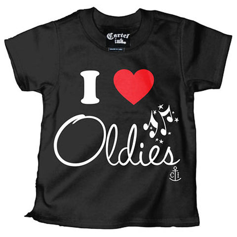 Kid's Cartel Ink I Love Oldies T-Shirt Black Music Baby Toddler