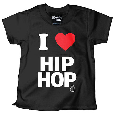 Kid's Cartel Ink I love Hip Hop T-Shirt Black Rap Music Baby Toddler
