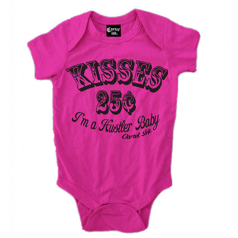 Kid's Cartel Ink Kisses 25¢ Infant One Piece Baby Pink Toddler