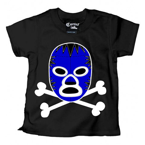 Kid's Cartel Ink Luchedore T-Shirt Black/Blue Toddler Mexican Wrestling Mask
