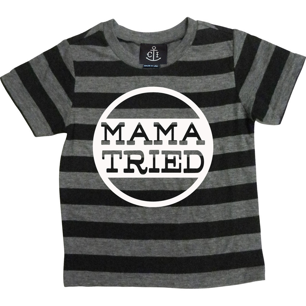 Kid's Cartel Ink Mama Tried T-Shirt Black/Grey Funny