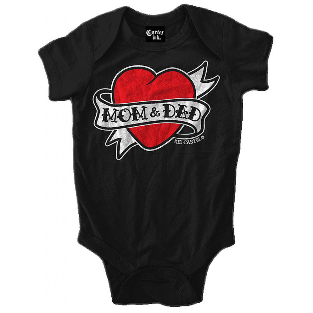 Kid's Cartel Ink Mom and Dad Heart Tattoo Infant One Piece Baby Black Flash