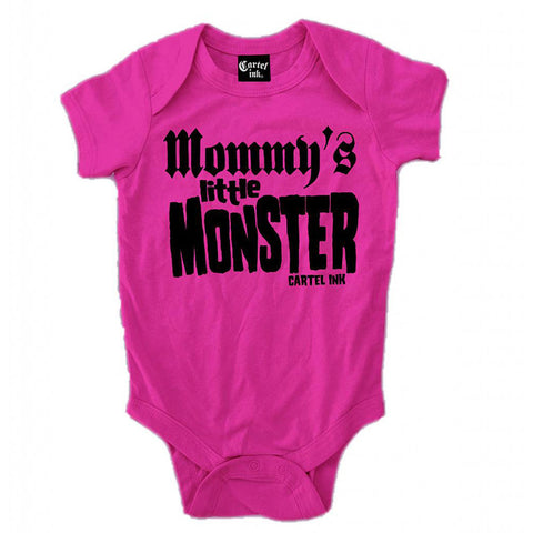 Kid's Cartel Ink Mommy's Little Monster Infant One Piece Baby Pink Punk