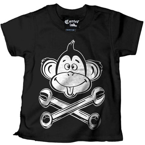 Kid's Cartel Ink Monkey Wrench T-Shirt Black Kustom Kulture Hot Rod