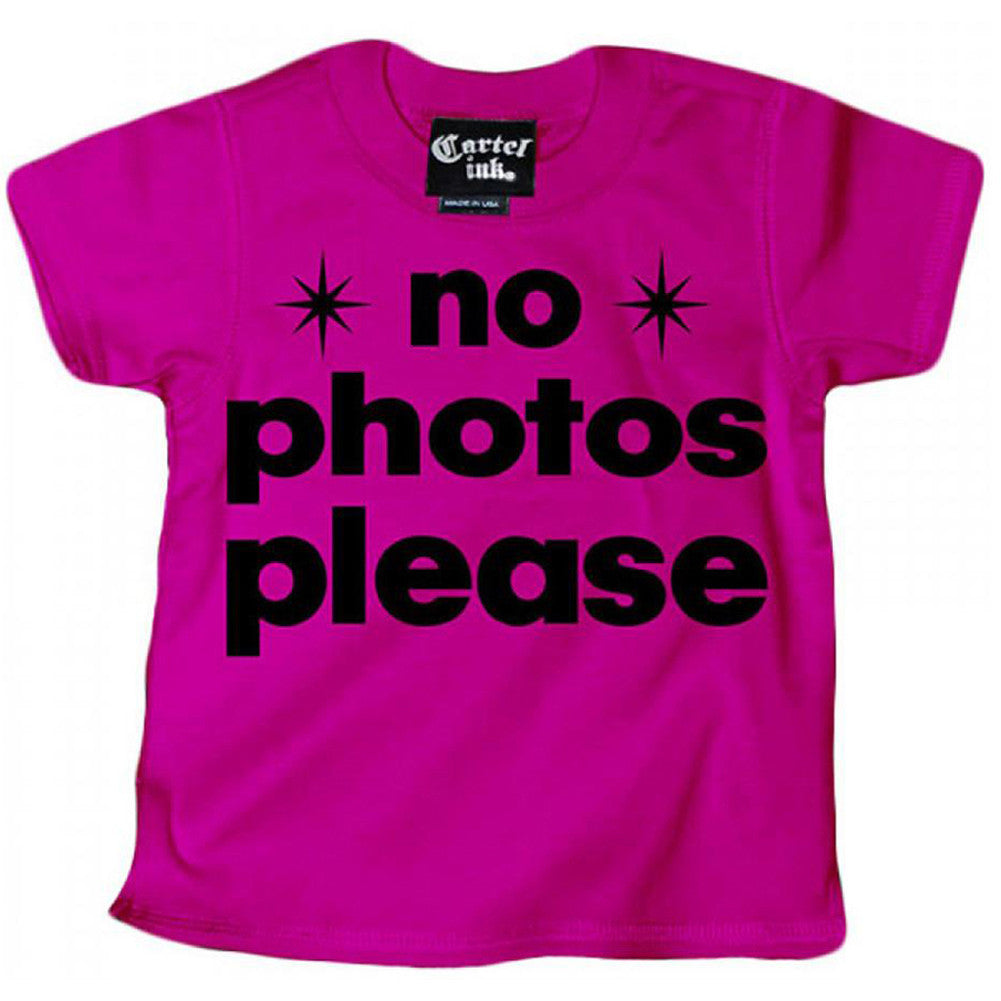 Kid's Cartel Ink No Photos Please T-Shirt Pink Paparazzi Famous