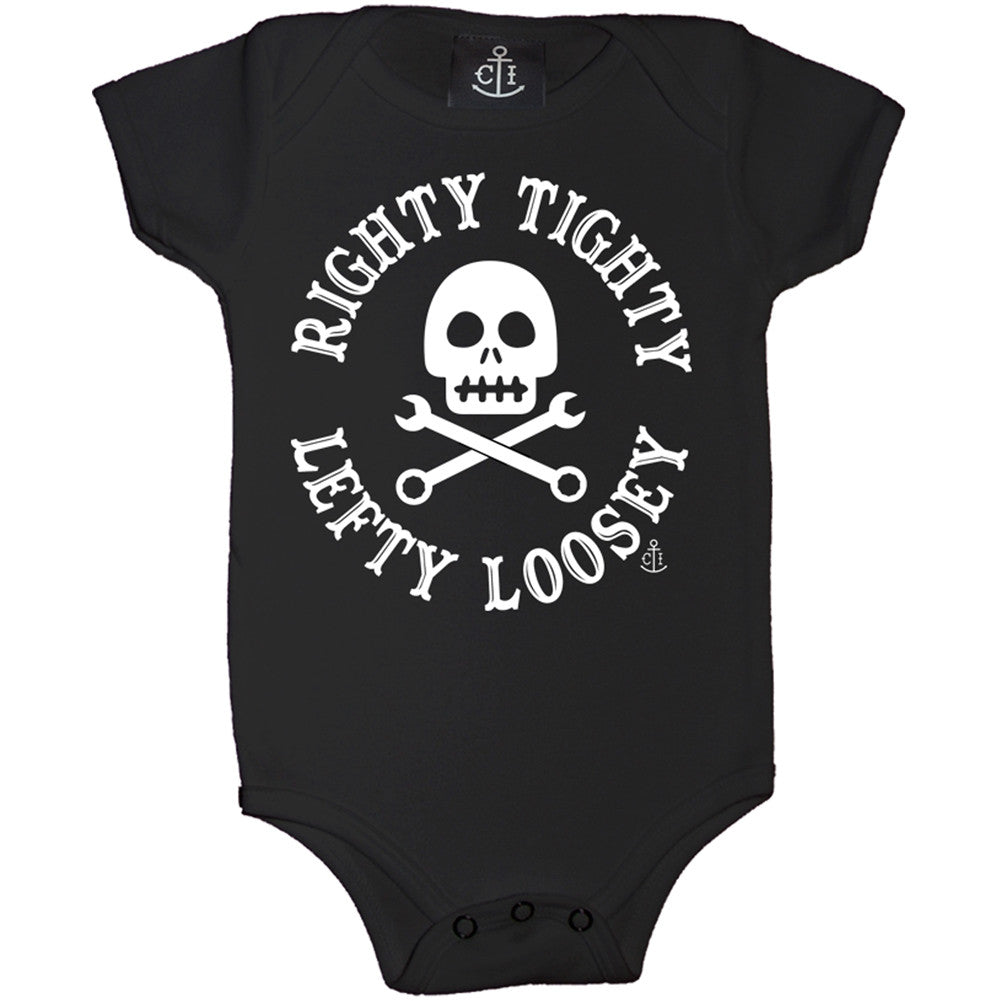 Kid's Cartel Ink Righty Tighty Left Loosey One Piece Black Skull Crossbones