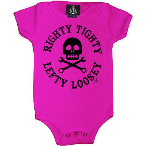 Kid's Cartel Ink Righty Tighty Lefty Loosey One Piece Pink Skull Crossbones