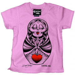 Kid's Cartel Ink Sacred Heart Doll T-Shirt Pink Day of the Dead Nesting Doll
