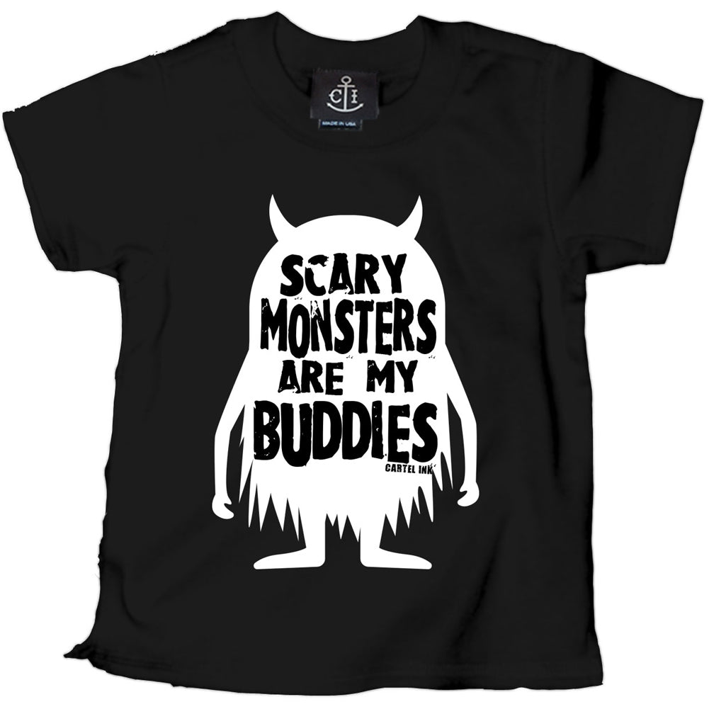 Kid's Cartel Ink Scary Monsters Are My Buddies T-Shirt Black Alt Goth Halloween