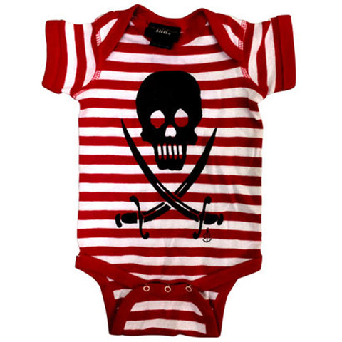 Kid's Cartel Ink Skull and Sabers Striped One Piece Pirate Baby Toddler