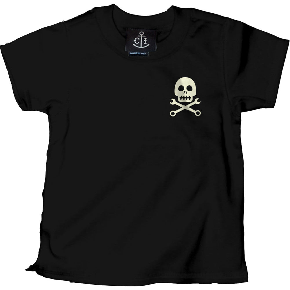 Kid's Cartel Ink Skully Pinstripe T-Shirt Black Baby Toddler Hot Rod Wrench