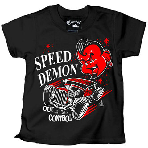 Kid's Cartel Ink Speed Demon Out Of Control T Shirt Black Hot Rod Rat Rod Devil