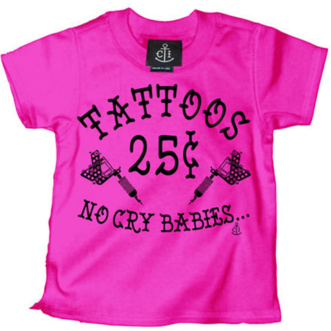 Kid's Cartel Ink Tattoos 25 Cents T-Shirt Hot Pink Tattoo Machines Artist
