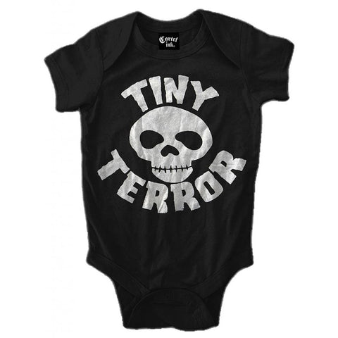 Kid's Cartel Ink Tiny Terror Infant One Piece Black Skull Crossbones Baby