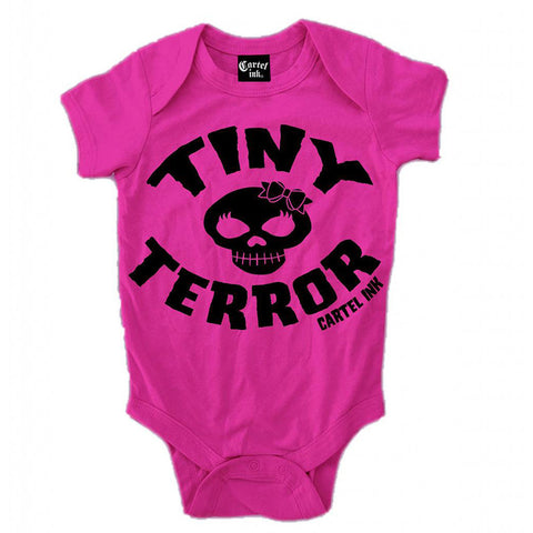 Kid's Cartel Ink Tiny Terror Infant One Piece Pink Skull Crossbones Baby