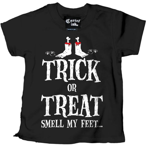 Kid's Cartel Ink Trick or Treat Smell My Feet T-Shirt Black Halloween Toddler