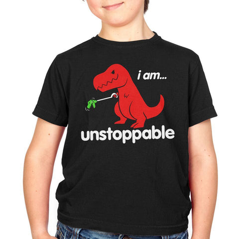 Kid's Goodie Two Sleeves Unstoppable Dino Toddler T-Shirt Black Funny Dinosaur