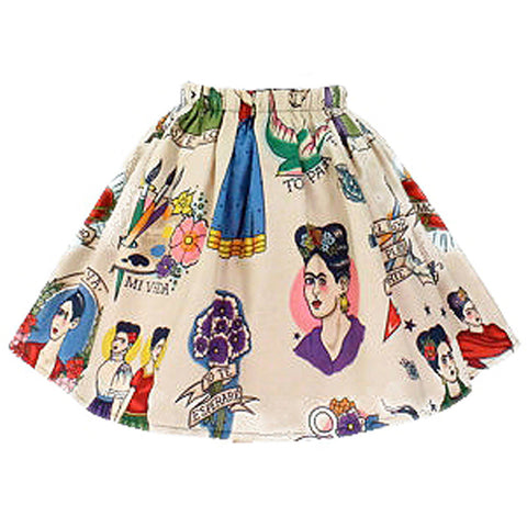 Kid's Hemet Colorful Frida Skirt Beige Latina Mexican Art
