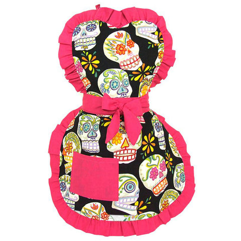 Kid's Hemet Mexican Sugar Skulls Apron Pink Day of the Dead Tattoo
