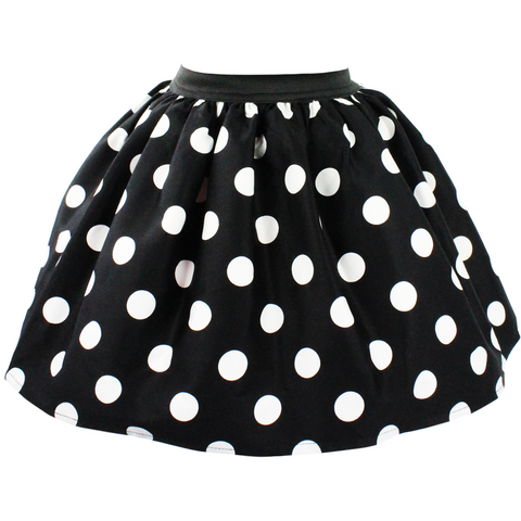 Kid's Hemet Polka Dot Skirt Black/White Rockabilly