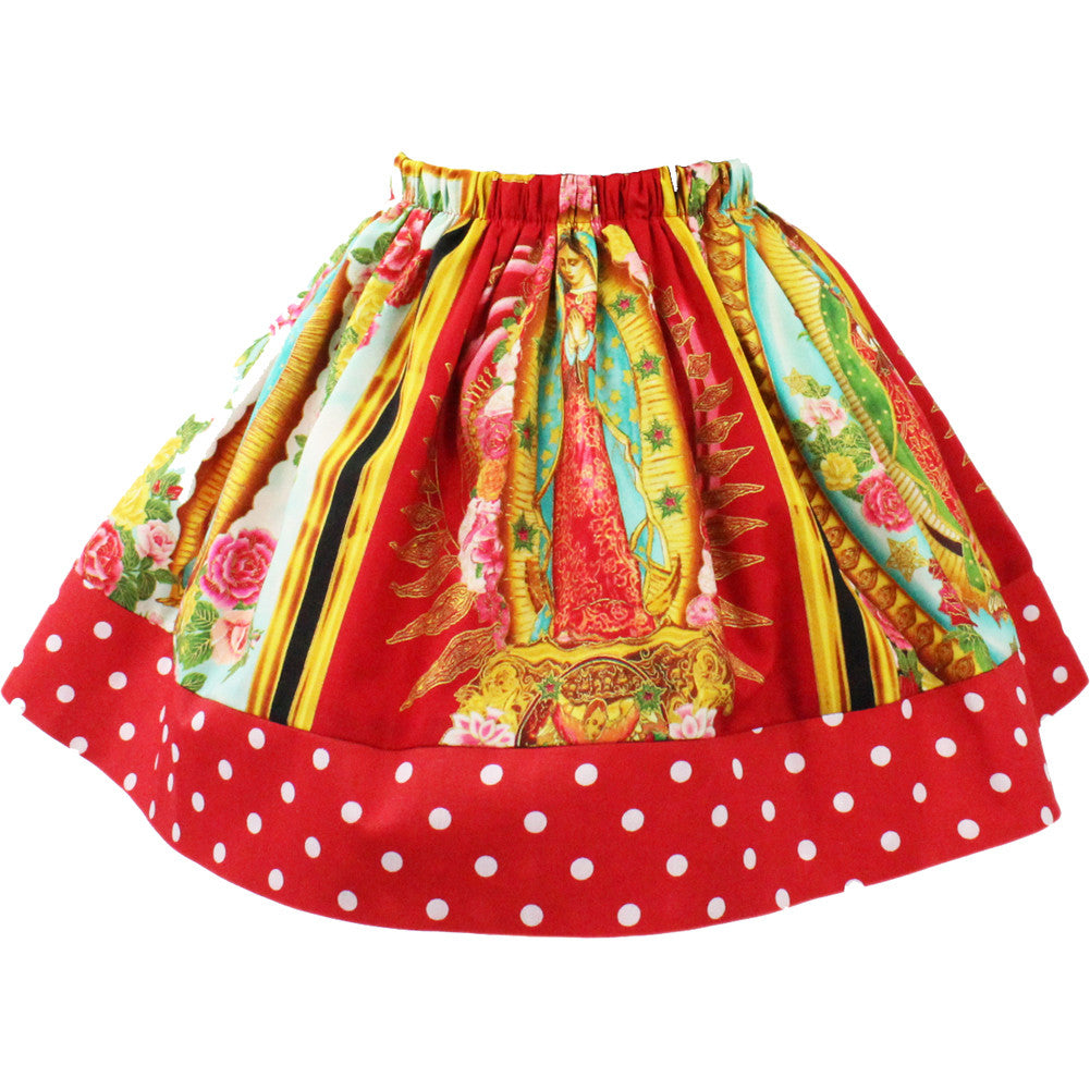 Kid's Hemet Virgin Mary Skirt Guadalupe Latina Rockabilly Polka Dot