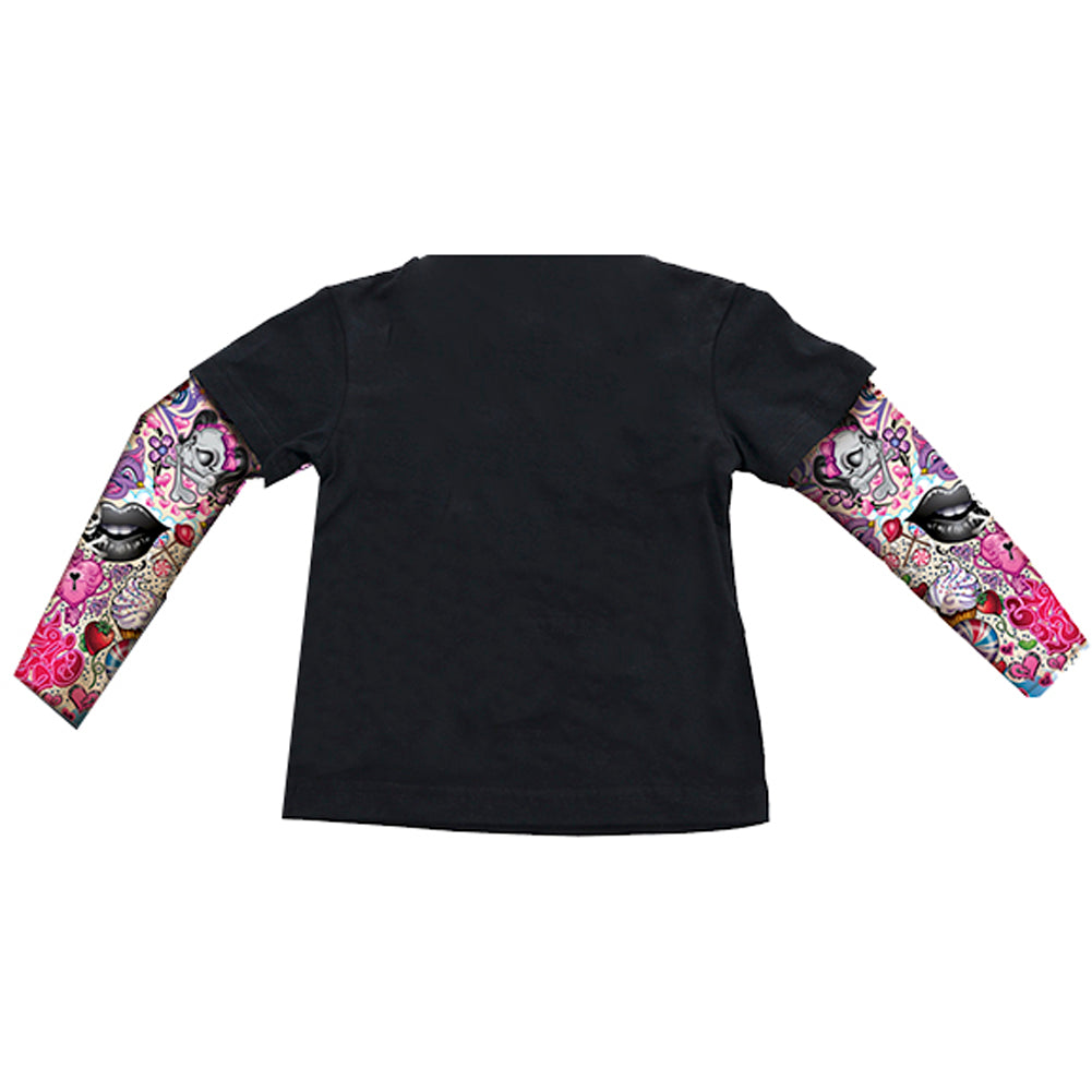 Kid's Lethal Angel Girly Skull T-Shirt Black Day of the Dead Bow Tattoo Sleeves