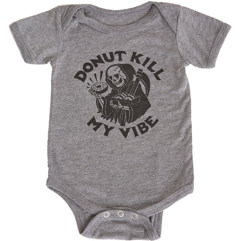 Kid's Pyknic Donut Kill By Vibe One Piece Grey Grim Reaper Food Humor Funny