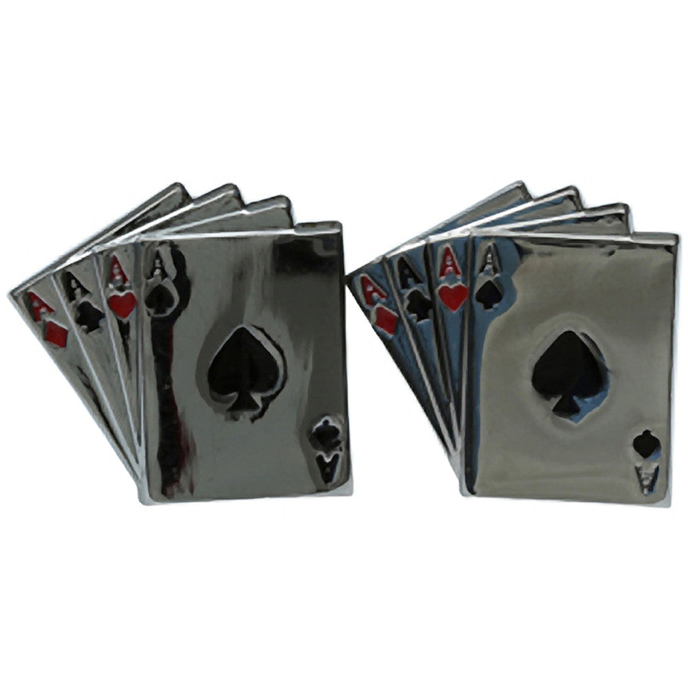 Kitsch N Kouture Aces Cufflinks Silver Playing Cards Rockabilly Vegas Lucky