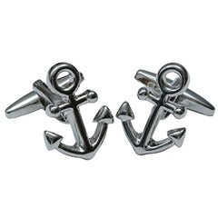 Kitsch N Kouture Anchors Cufflinks Silver Nautical Rockabilly