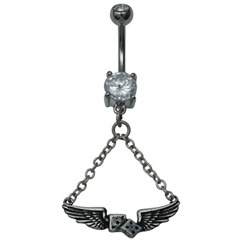 Kitsch N Kouture Flying Dice Navel Jewelry Belly Ring Silver   Lucky  Wings
