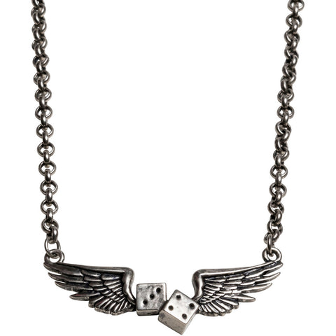Kitsch N Kouture Flying Dice Necklace Wings Rockabilly